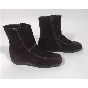 AEROSOLES Suede Leather Brown Flat Ankle Boots